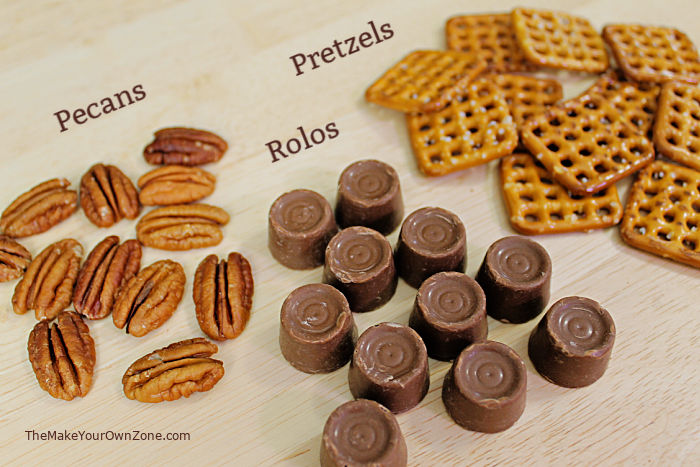 Ingredients for DIY Turtle Candies made with Rolos