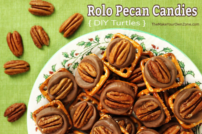 DIY Turtle Candy made with Rolos and Pecans