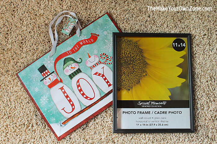 Supplies for DIY Gift Bag Wall Art