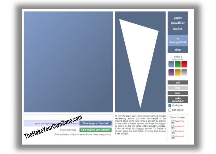 Screenshot of virtual snowflake