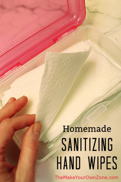 A box of homemade sanitizing hand wipes