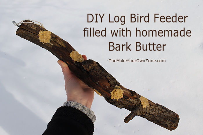 Homemade log bird feeder with with DIY suet plugs
