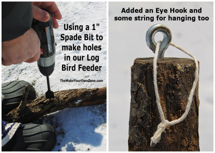 Steps for making a homemade log bird feeder