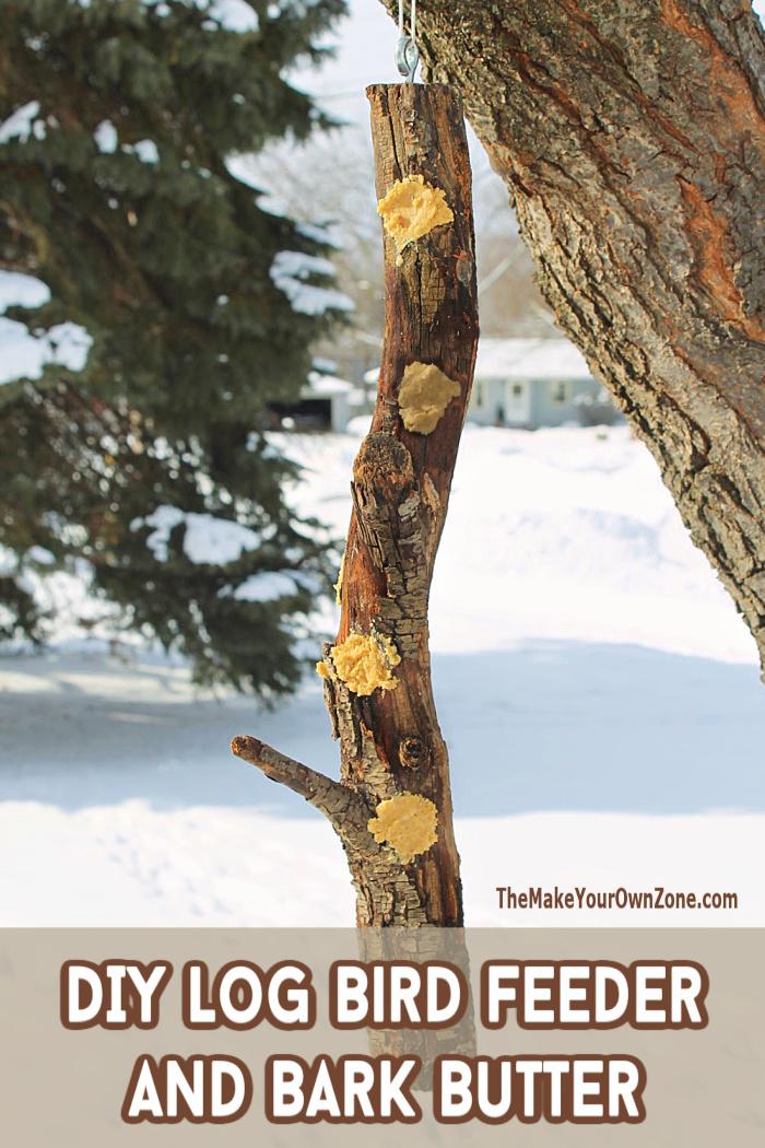 Homemade log bird feeder filled with homemade bark butter