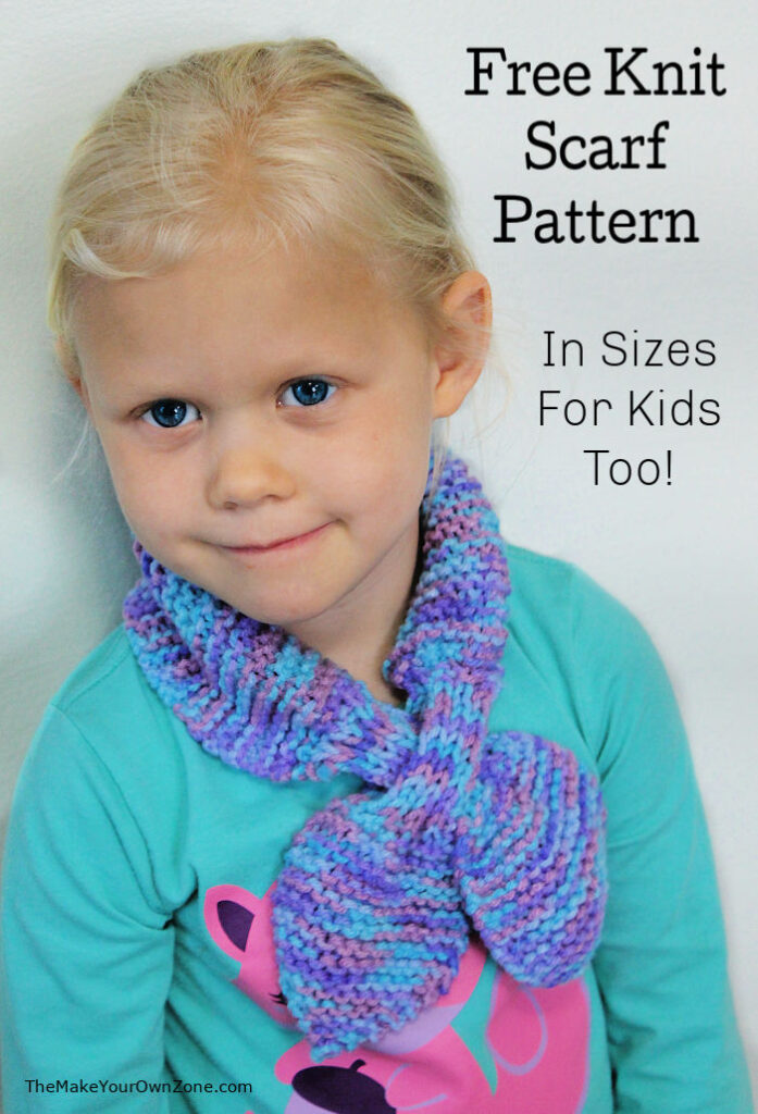 Homemade knit scarf in a child's size