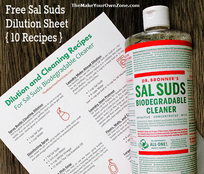 Dilution cheat sheet for sal suds cleaner