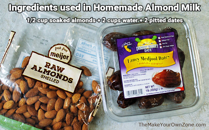 ingredients for homemade almond milk