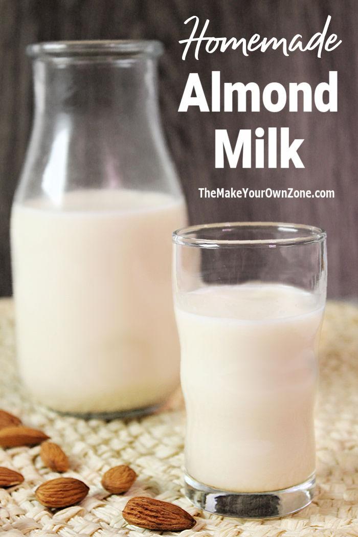 A glass of homemade almond milk