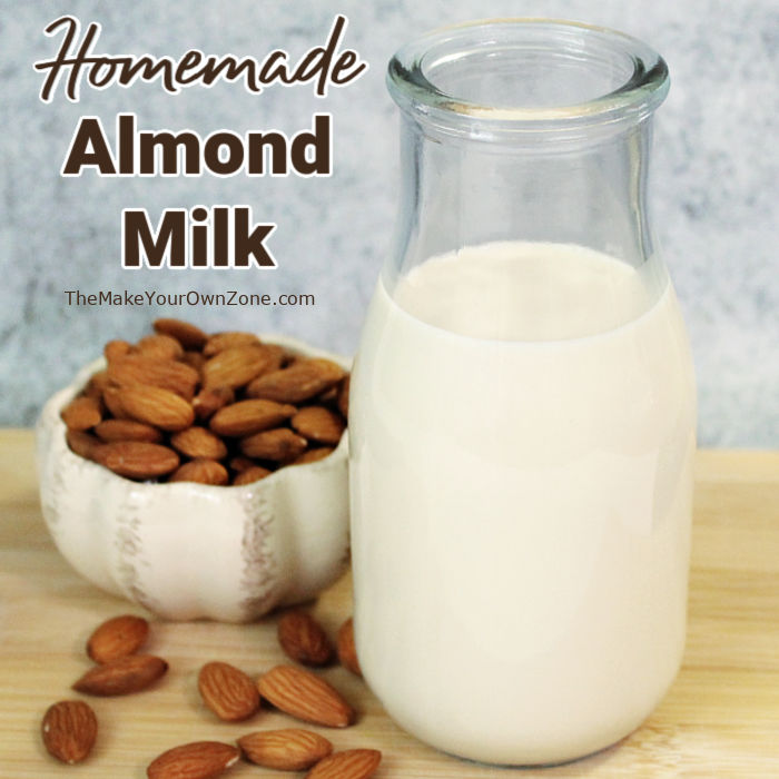 A bottle of homemade almond milk