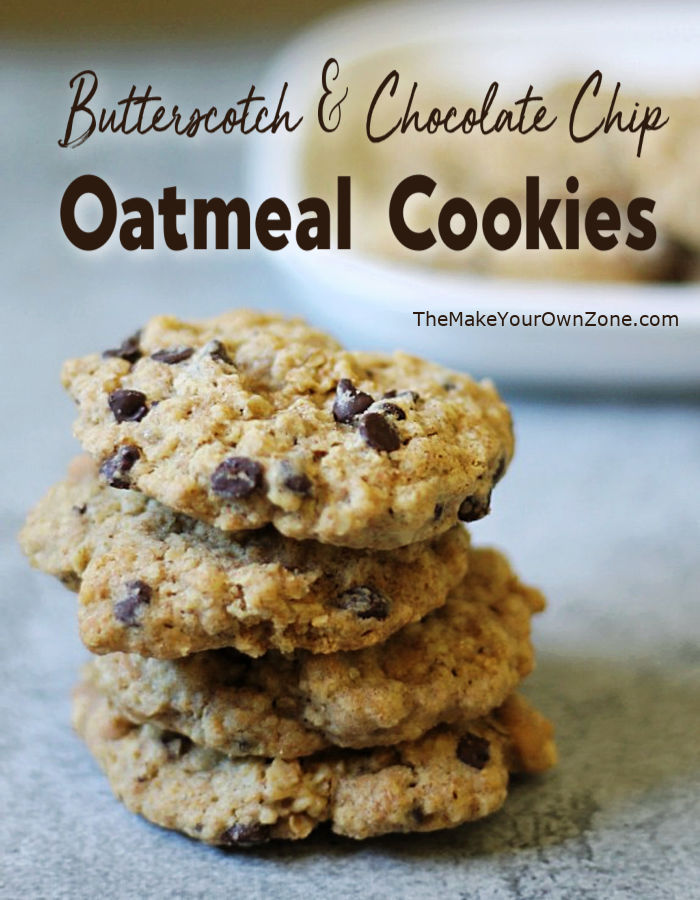 a stack of homemade oatmeal cookies made with butterscotch chips and chocolate chips