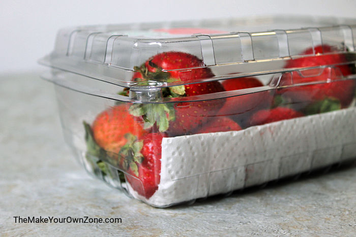 strawberries in a container with paper towel to keep them fresh
