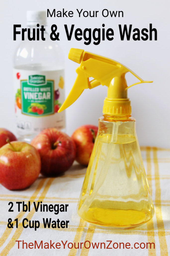 A bottle of homemade produce wash