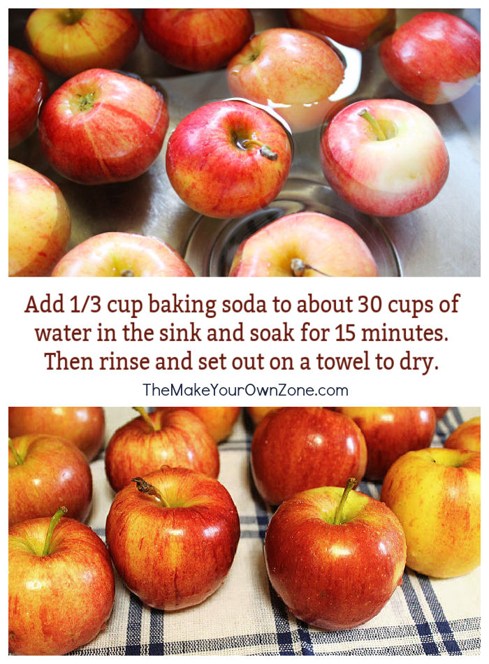 Apples that have been soaked in baking soda and water to clean them