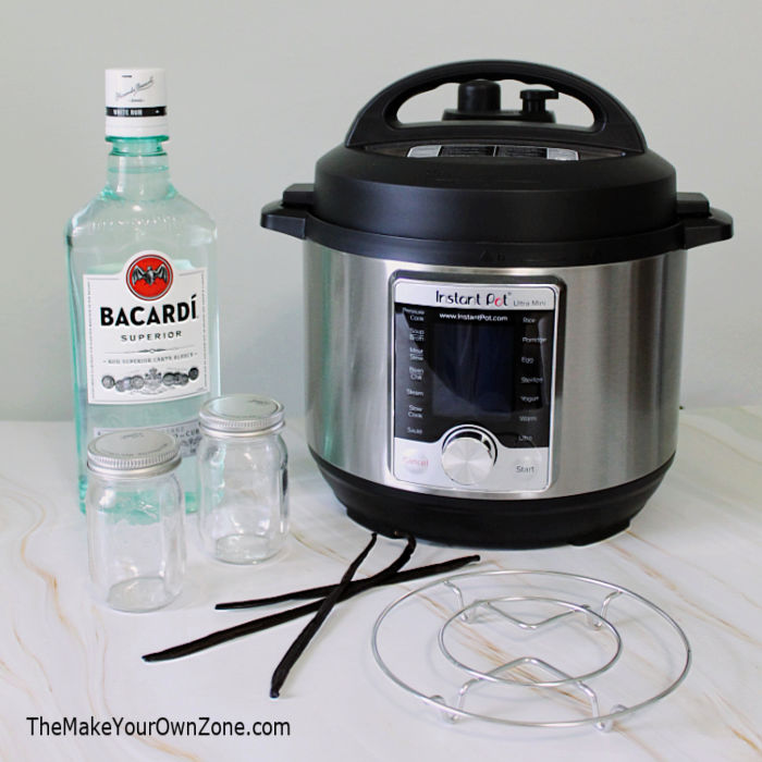 supplies for making homemade vanilla extract in an instant pot