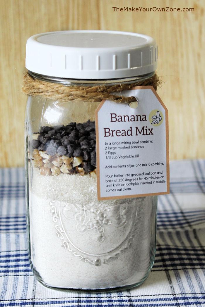 Banana Bread recipe layered in a quart mason jar