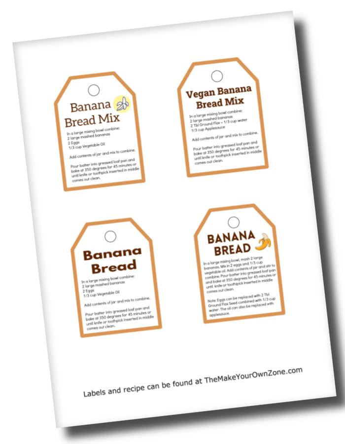 labels for banana bread jar mix