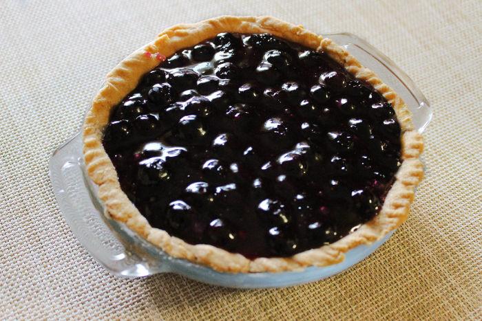 A homemade mini blueberry pie