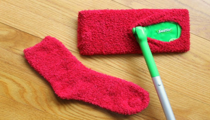 homemade swiffer cover from a sock