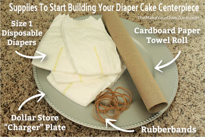 Supplies to make a baby shower diaper cake