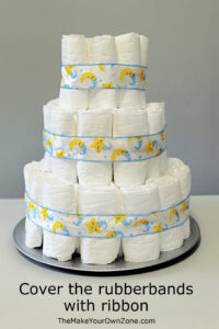 Instructions for how to make a diaper cake