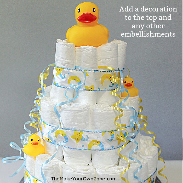 decorations for a baby shower diaper cake