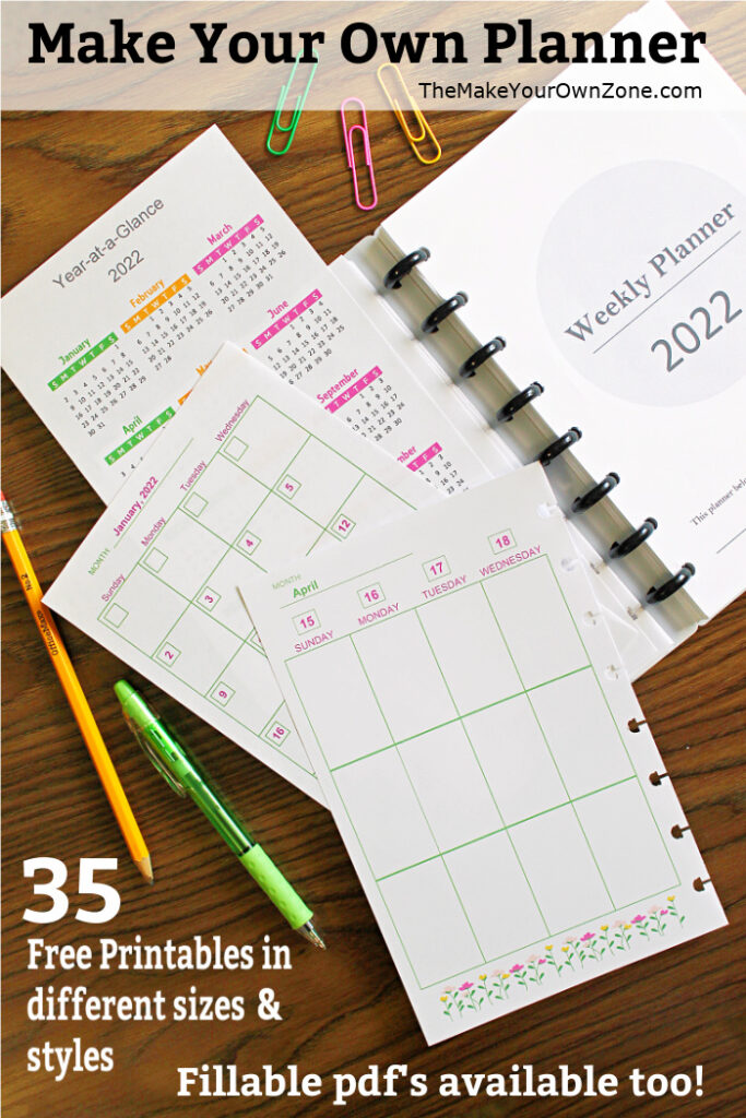 free printable planner pages for disc bound notebooks