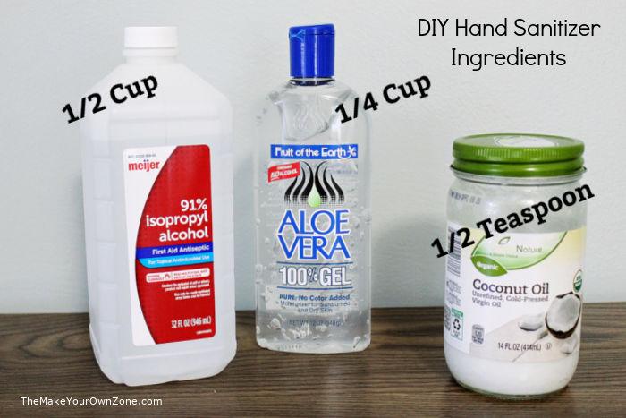 Ingredients for making homemade hand sanitizer