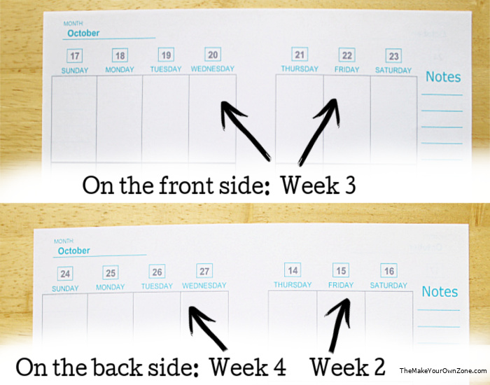 An example of how to print your own planner pages back to back