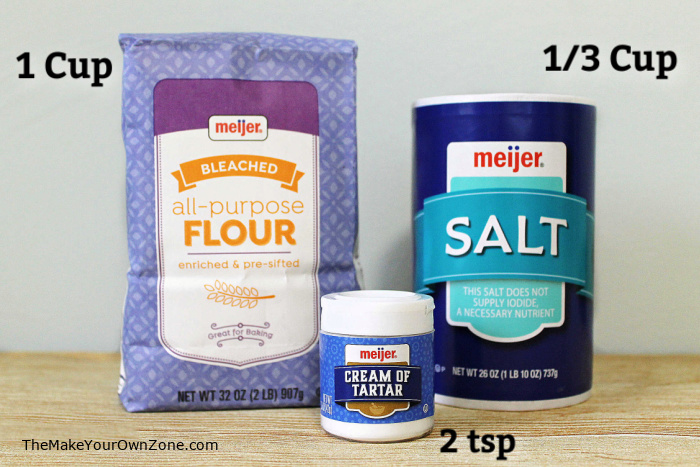 Ingredients for homemade play dough jar gift