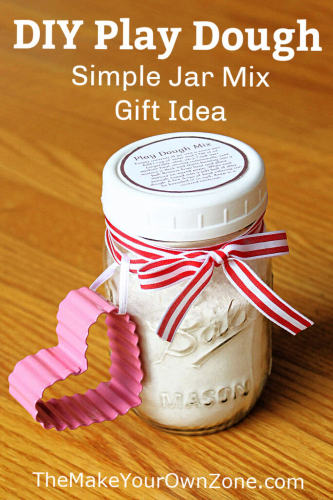 Homemade play dough mix in a jar to give as a gift